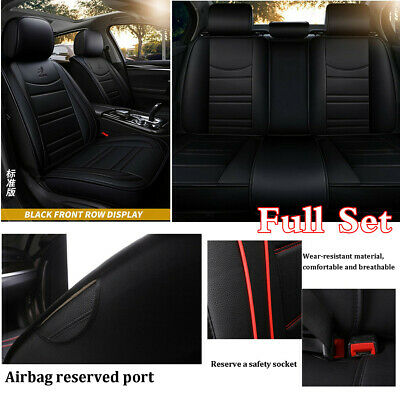 Full Set Black PU Leather Car 5-Sits Seat Cover Protector Cushions Airbag Safety