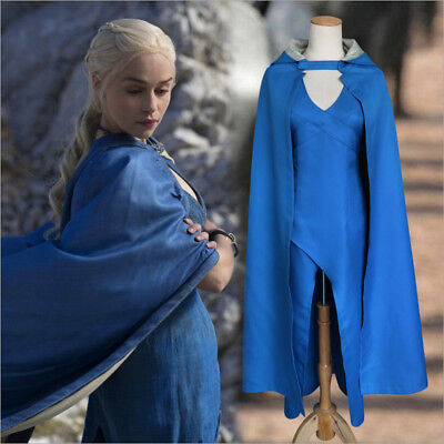 Game of Thrones Khaleesi Daenerys Targaryen Cosplay Costume Adult Dress & Clock