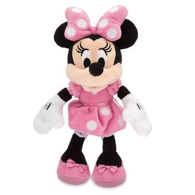 "Disney Parks Minnie Mouse Pink Polka Dot Plush Toy 9 1/2"" Soft Doll Girls Gift"