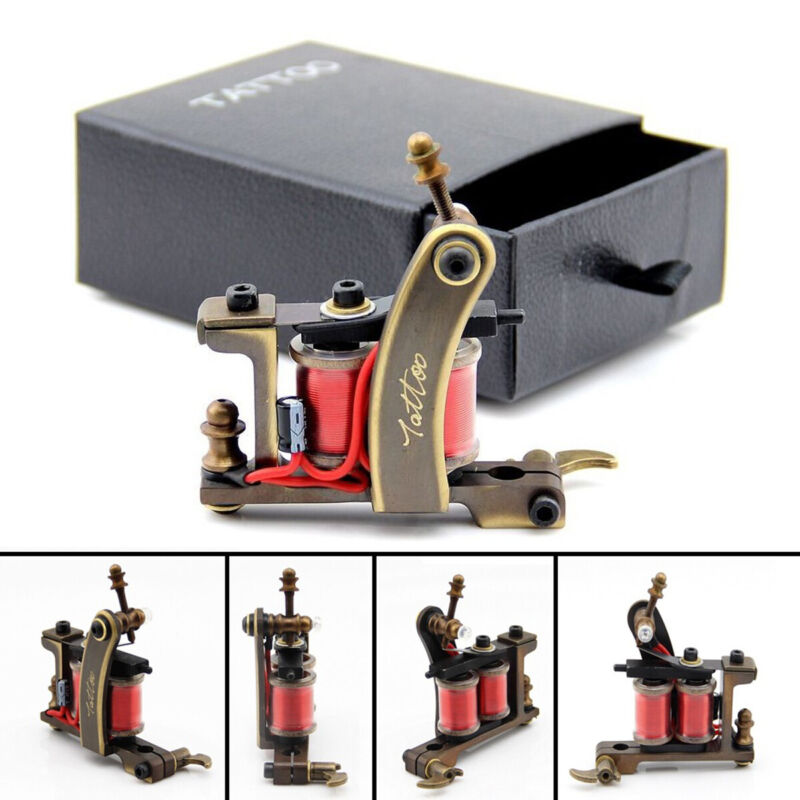 PRO Coil Tattoo Machine  12 Wrap Coils CNC Carved Brass Tattoo Frames for Liner