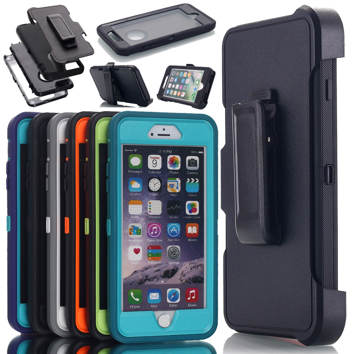 Shockproof Hard Armor Case Cover w/Holster Belt Clip For iPh