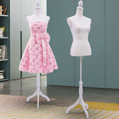 Female Mannequin Torso Dress Form Display Wwhite Tripod Stand Us Styrofoam New