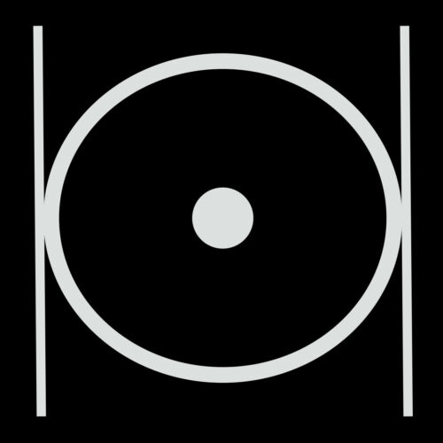 Point within a Circle & Parallel Lines Masonic Vinyl Decal - White 6 Inch