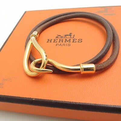 Authentic HERMES leather Jumbo Bracelet From Japan