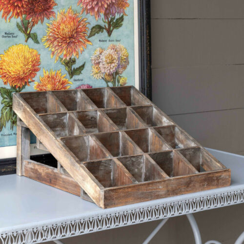 Rustic Wood Display Cubby Divided Tabletop Organizer