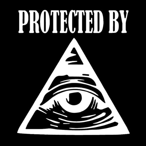 Protected by All Seeing Eye Masonic Vinyl Decal - White 6 Inch