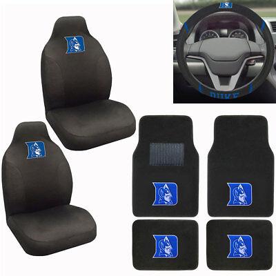 New NCAA Duke Blue Devils Car Truck Seat Covers Floor Mats Steering Wheel Cover Duke Blue Devils Cover