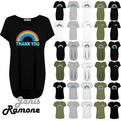 Womens Rainbow Thank You Healthcare Key Workers T-Shirt Baggy Long Dress Tops