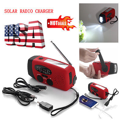 Emergency Solar Hand Crank Dynamo Am Fm Wb Weather Radio Led Flashlight Charger