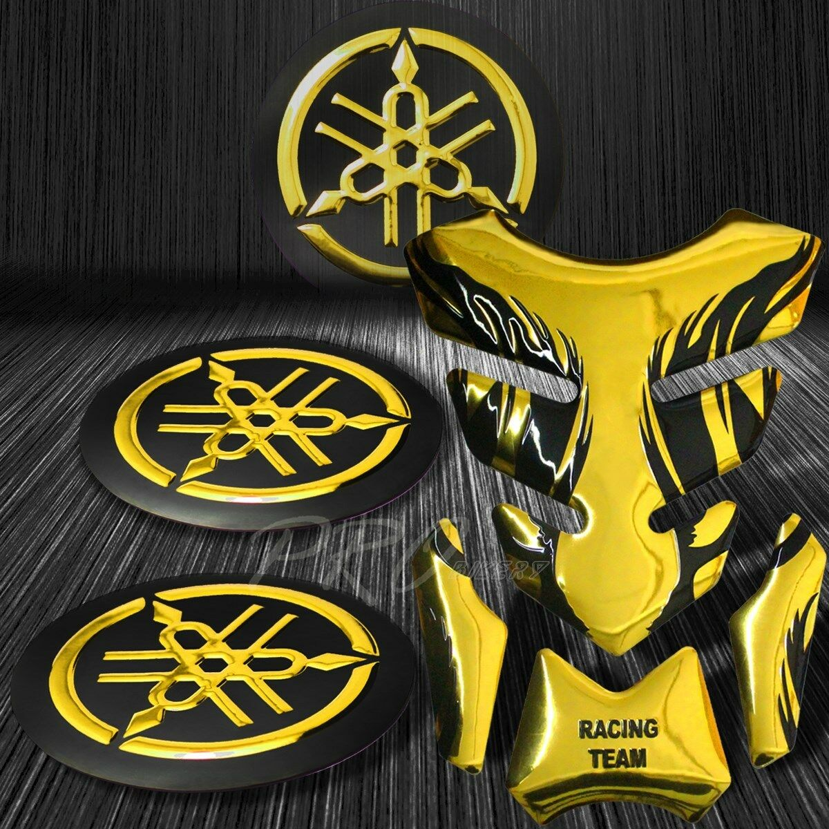 Details about chrome gold tribal fire fuel tank pad 3d logo fairing emblem for yamaha sticker