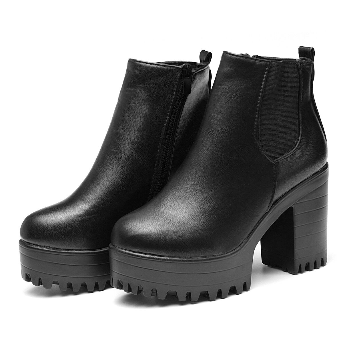f1bc955689e9 Details about Stylish Women Chunky Platform Ankle Boots Heel High Chelsea  Slip On Bootie Shoes