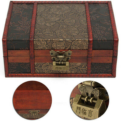 Vintage Large Decorative Trinket Jewelry Lock Chest Handmade Wooden Storage Box
