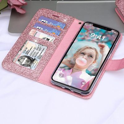 Best Gift for Girls/Daughter/Wife/Women,iPhone Bling Glitter Leather Soft