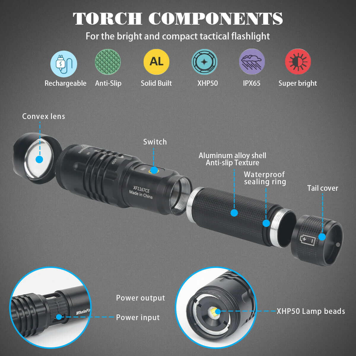 90000LM Super-Bright XHP50 LED Tactical Flashlight With Rechargeable Battery US