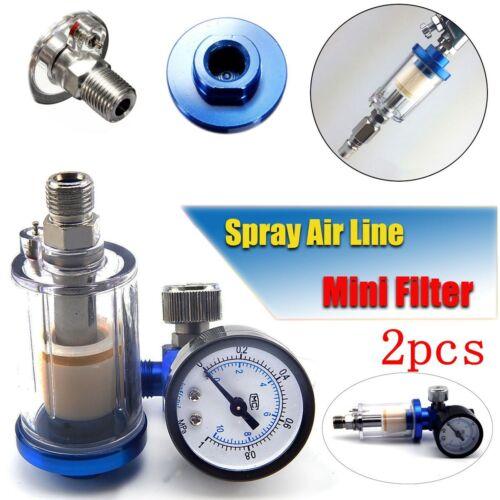 2Pcs Inline 1/4 Air Oil / Water Separator Filter Compressor Spray Paint Gun Tool