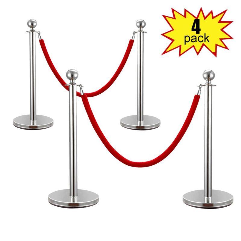 4PCS Stanchion Posts Set Queue Pole w/ Red Velvet Rope Crowd Control Barrier