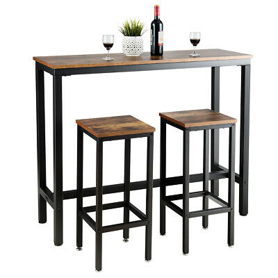 3 Pieces Bar Table Set Counter Height Bar Dining Table w/Stools Set Rustic Brown