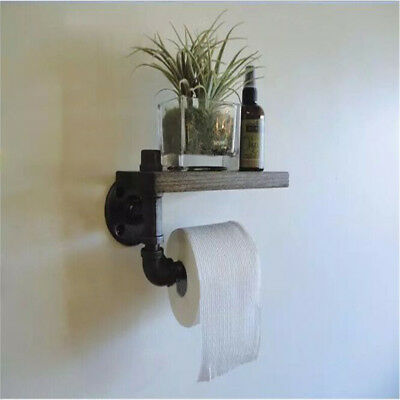 Industrial Urban Style Iron Pipe Toilet Paper Holder Roller With Wood Shelf Wall