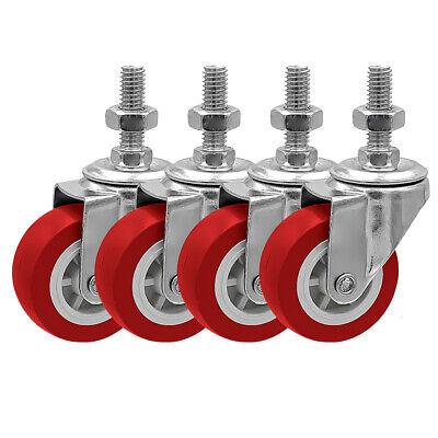 4 Pack 2 Inch Stem Caster Swivel Red Polyurethane Caster Wheels