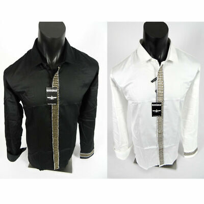 Mens Barabas Classic Fit Shirt Black or White Studs Stones Button Event Wedding