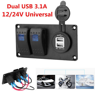2-gang Led Rocker Switch Panel Circuit Breaker Dual Usb Charger Car Marine Boat