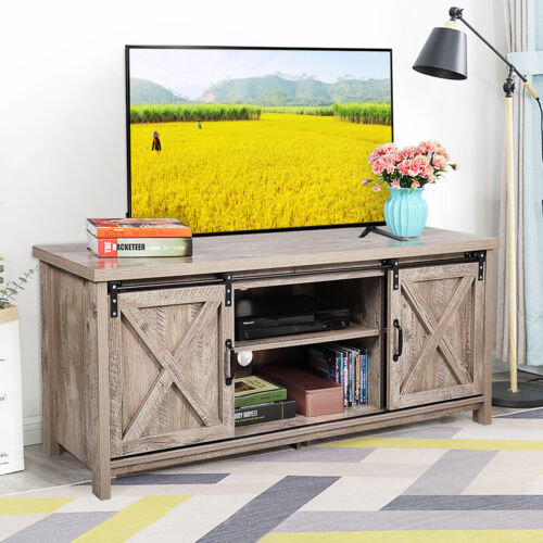 """58"""" TV Stand Sliding Barn Unit Console Table Cabinet Entertainment Center Gray"""