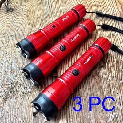 3 LOT RED MONSTER Stun Gun 16 Million Volt Rechargeable LED Flashlight FRDx3 -W