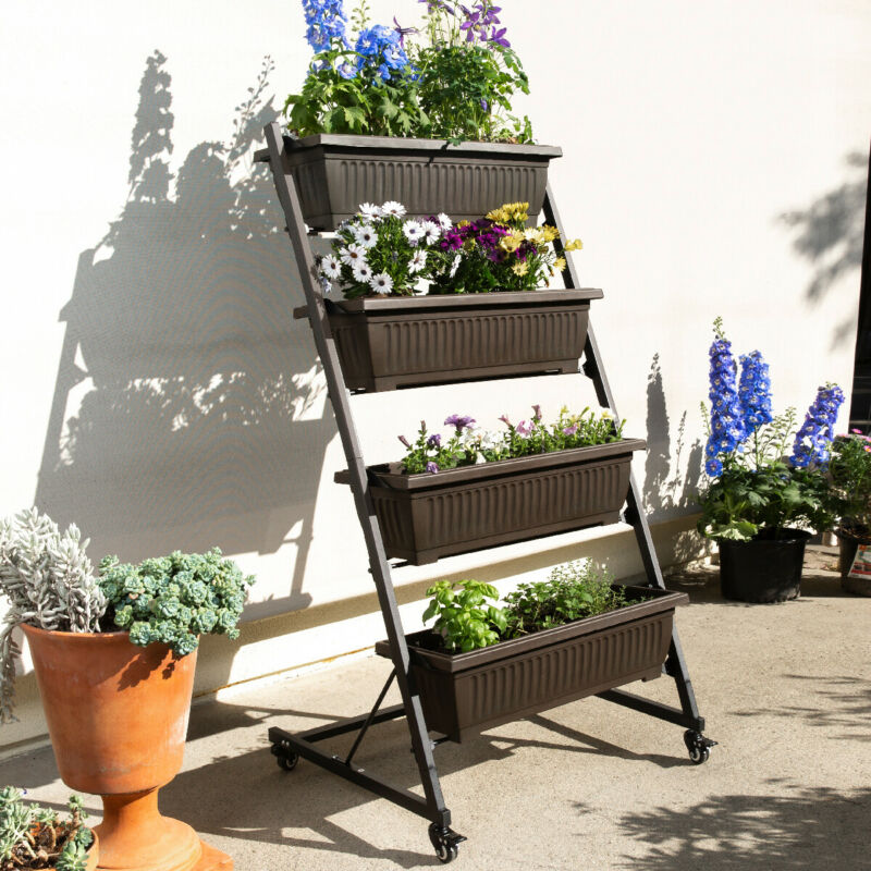 4 Tier Vertical Raised Garden Bed Plant Stand Elevated Vegetables Black/Brown