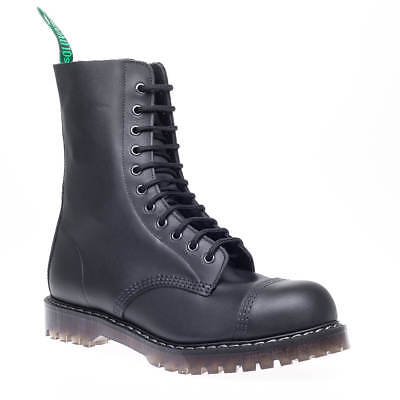 Black Greasy Leather Boot (Solovair Made UK Mens Black Greasy Leather Steel toe Cap Derby Combat Boots)