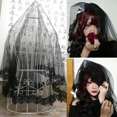 rz Schleier Spitzen Rand mit Kamm Gothic Lolita Party Fairy (Schwarzen Spitzenschleier)