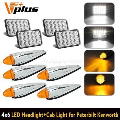 For Peterbilt LED 4x6 Hi/Lo Headlight+ 5x 17LED Amber Chrome Cab Lights