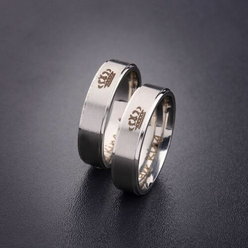 1 Set Fashion Stainless Steel HIS QUEEN and HER KING Couple