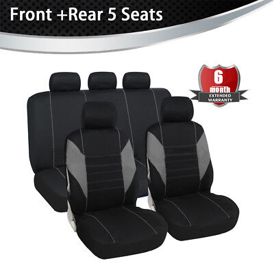 Used, Front & Rear Full Set Bucket Seat Cover Gray/Black Fit Most Car Truck Suv Van for sale  Shipping to Canada