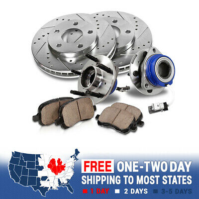 Front Brake Rotors Hub Bearings & Pads For 2002 2003 2004 2005 Dodge Ram 4X4 4WD