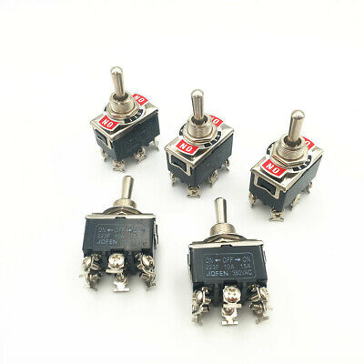 5pcs 223f Toggle Switch Momentary 6-pin 3 Position On-off-on Dpdt 15a 250vac