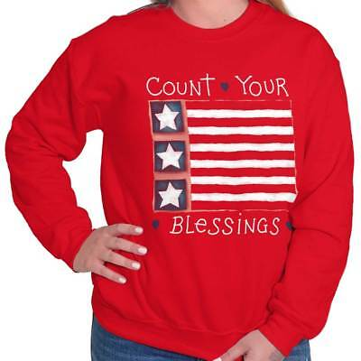 American Flag Sweatshirt (Count Your Blessings American Flag USA Christ Sweat Shirt Sweatshirt For Womens)