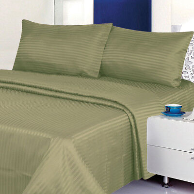 1800 Series 100% Cotton Satin Dobby Stripe Sheet Set- Assorted colors and sizes