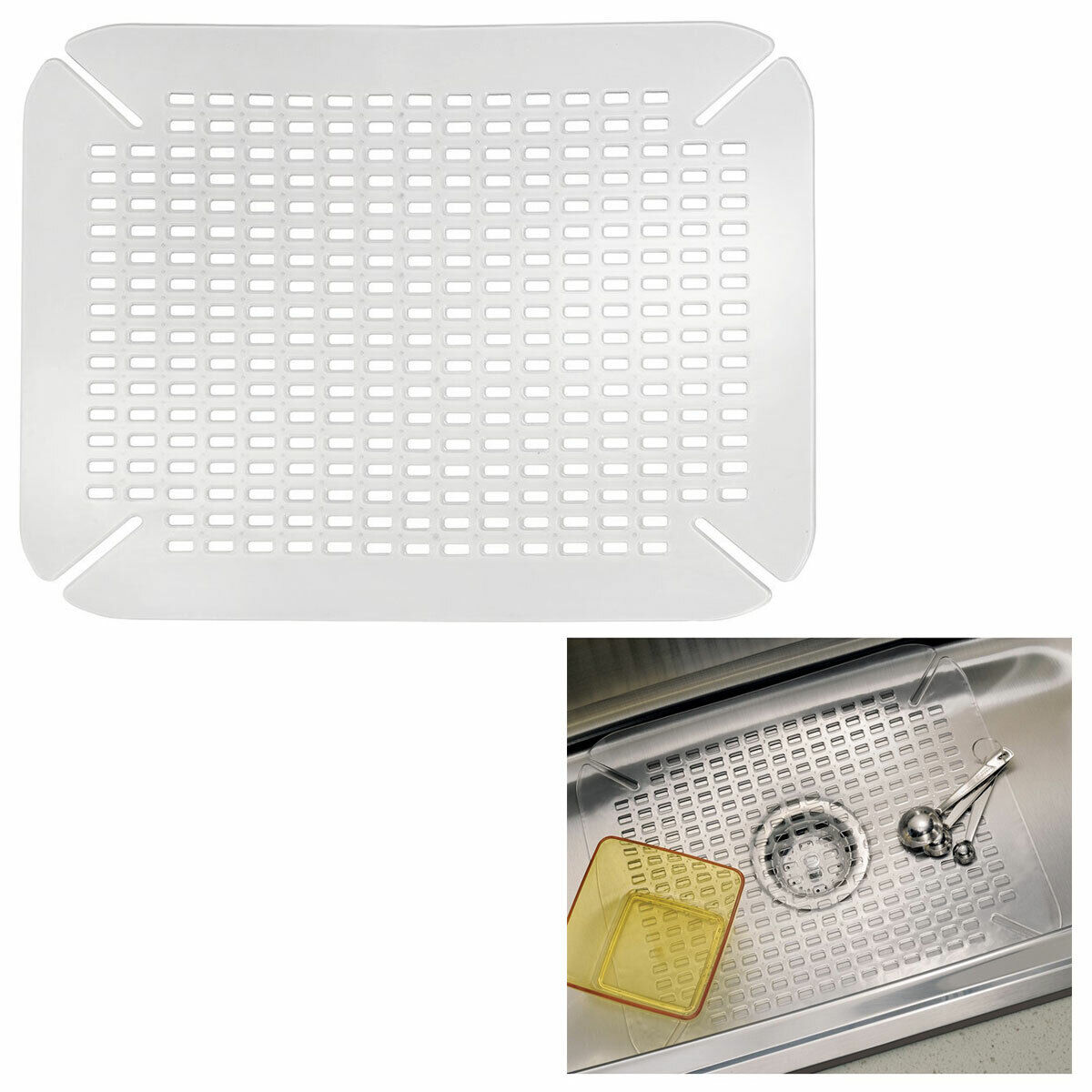 Adjustable Contour Size Kitchen Sink Dish Drying Protector Mat, Clear