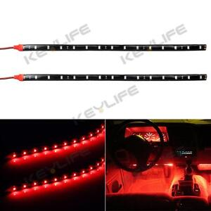 2pcs car interior under dash floor decorative led lights strip red 2 x 12 15led ebay. Black Bedroom Furniture Sets. Home Design Ideas