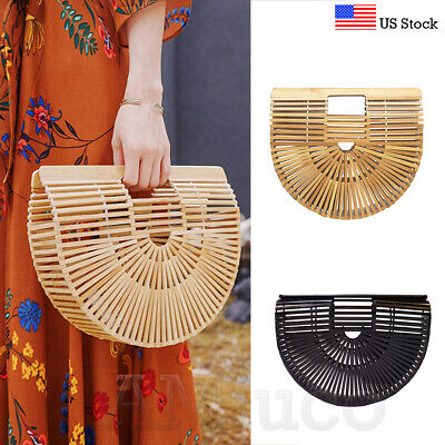 Ladies Bamboo Bag Handmade Weave Basket Clutch Bag Handbag Vacation Shoulder Bag ()