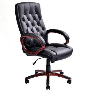 ergonomic tufted high back office chair pu leather computer desk task black new - Tufted Desk Chair