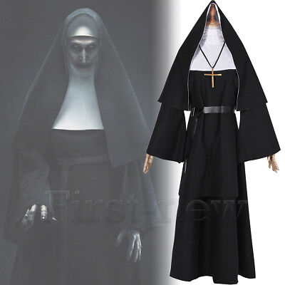 Nun Suit (Women Nun Robes Dress For The Conjuring Scary Suit The Nun Valak Cosplay)