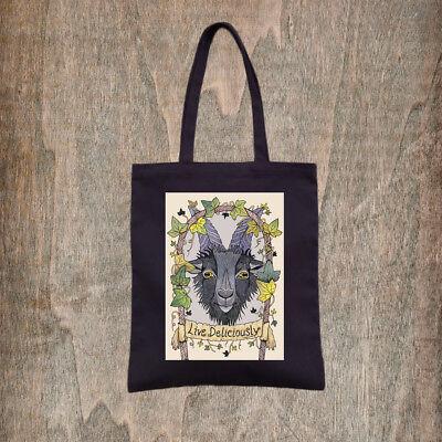 Black Phillip Tote Bag - Goth Pagan Goat Halloween Cotton Bag Live Deliciously (Phillip Halloween)