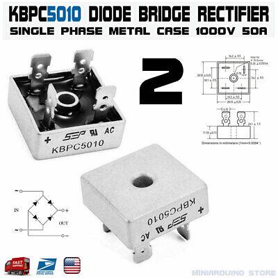 2pcs Kbpc5010 Diode Bridge Rectifier Single Phase Metal Case 1000v 50a Usa