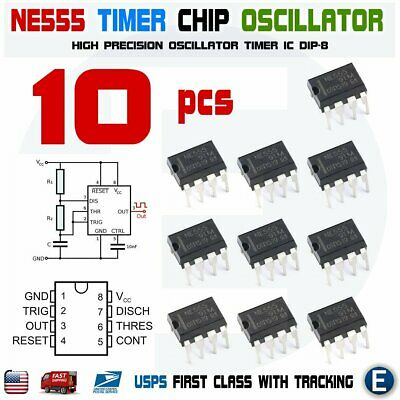 10pcs Ne555p Ne555 Ic 555 High Precision Oscillator Timer Dip-8 Chip Usa