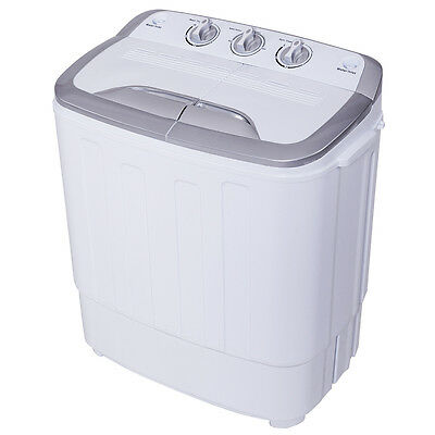 Closely-knit Mini Twin Tub 13lbs Washing Machine Washer Spin Spinner Gray & White New