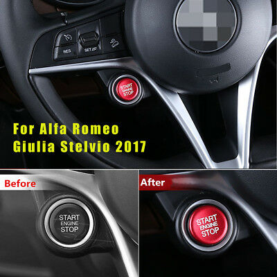 Red Start//Stop Carbon Fiber Switch Button Cover Trim For Alfa Romeo Giulia 17-18
