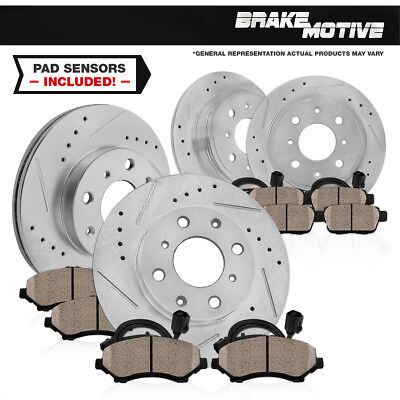 Front+Rear 4 Drill Slot Brake Rotors And 8 Ceramic Pads For BMW 325 318 328 E30