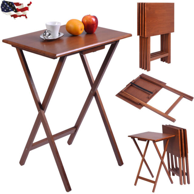 New Set Of 4 Portable Wood TV Table Folding Tray Desk Serving Furniture  Walnut