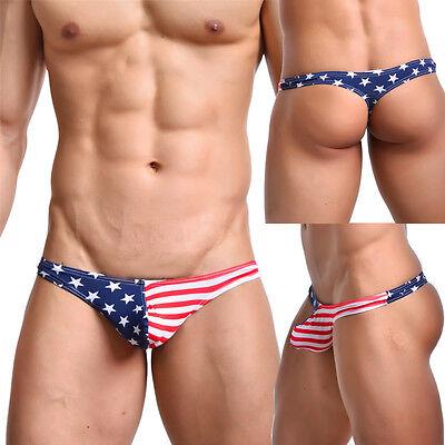 Flag String (NEW Men's USA Flag Stars&Stripes Underpants G-String Thong Bikini Sexy Underwear)